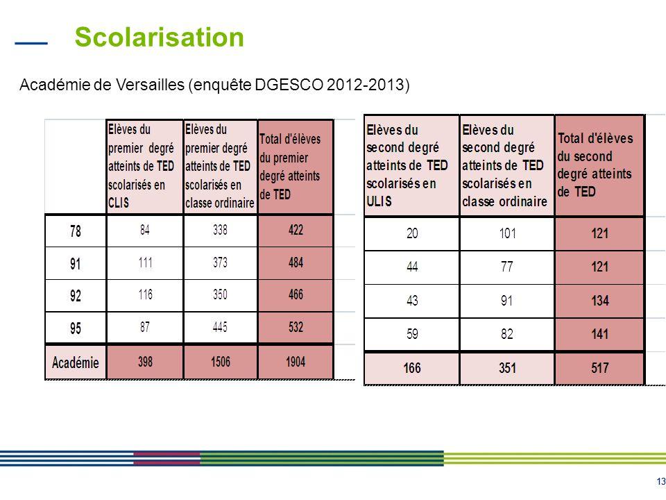 13 Scolarisation Académie de Versailles (enquête DGESCO 2012-2013)