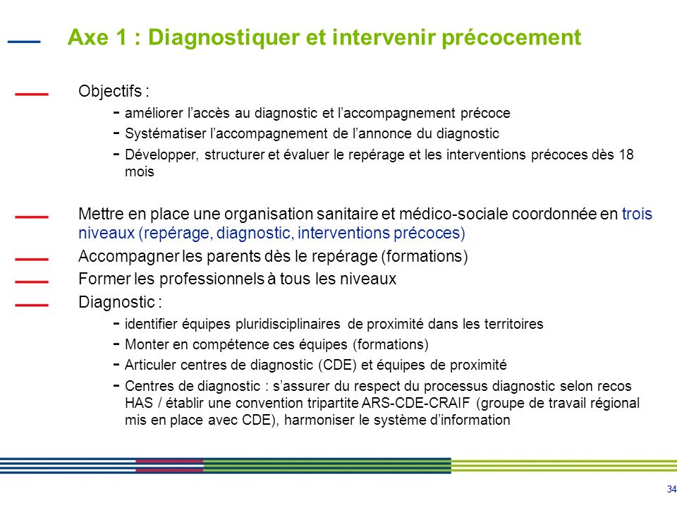 34 Axe 1 : Diagnostiquer et intervenir précocement Objectifs : - améliorer l'accès au diagnostic et l'accompagnement précoce - Systématiser l'accompagnement de l'annonce du diagnostic - Développer, structurer et évaluer le repérage et les interventions précoces dès 18 mois Mettre en place une organisation sanitaire et médico-sociale coordonnée en trois niveaux (repérage, diagnostic, interventions précoces) Accompagner les parents dès le repérage (formations) Former les professionnels à tous les niveaux Diagnostic : - identifier équipes pluridisciplinaires de proximité dans les territoires - Monter en compétence ces équipes (formations) - Articuler centres de diagnostic (CDE) et équipes de proximité - Centres de diagnostic : s'assurer du respect du processus diagnostic selon recos HAS / établir une convention tripartite ARS-CDE-CRAIF (groupe de travail régional mis en place avec CDE), harmoniser le système d'information