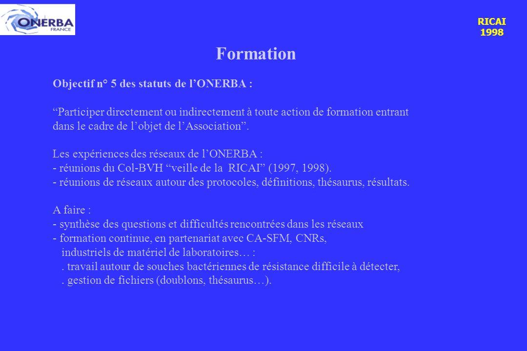 RICAI 1998 RICAI 1998 Formation Objectif n° 5 des statuts de l'ONERBA : Participer directement ou indirectement à toute action de formation entrant dans le cadre de l'objet de l'Association .