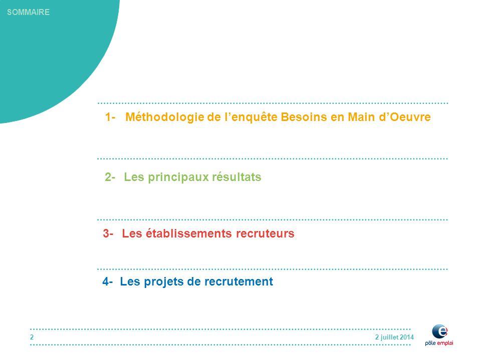 2 juillet 20142 SOMMAIRE 1- Méthodologie de l'enquête Besoins en Main d'Oeuvre 2-Les principaux résultats 3-Les établissements recruteurs 4- Les projets de recrutement