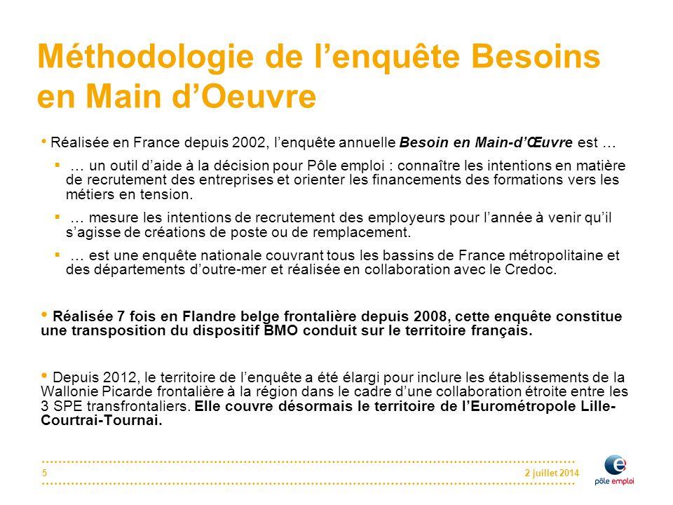 2 juillet 20145 Méthodologie de l'enquête Besoins en Main d'Oeuvre Réalisée en France depuis 2002, l'enquête annuelle Besoin en Main-d'Œuvre est …  …