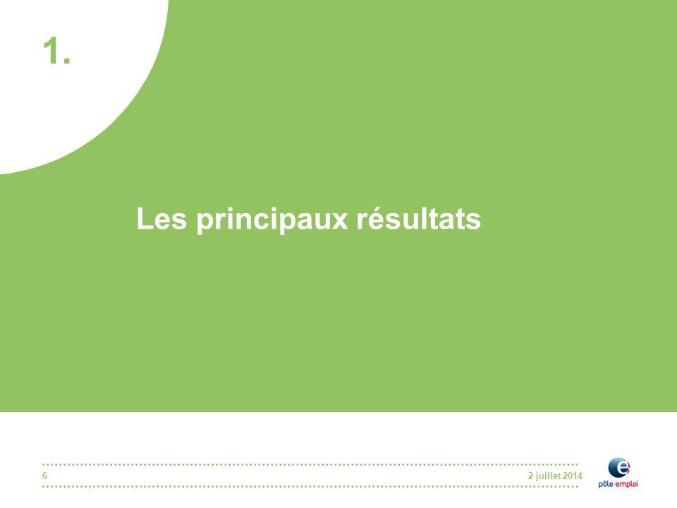 2 juillet 20146 Les principaux résultats 1.