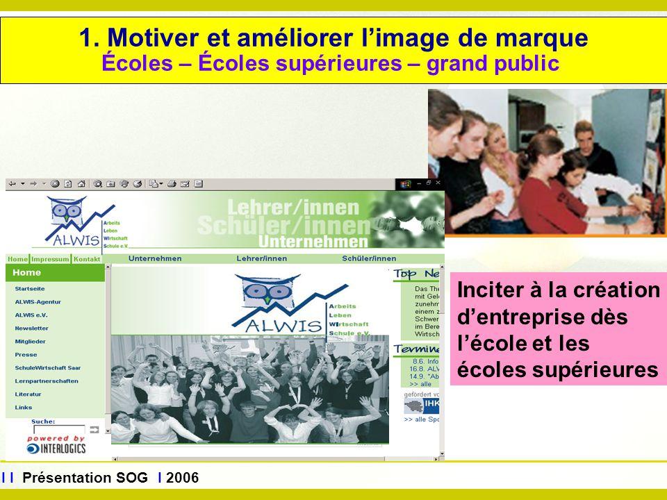 www.sog.saarland.de I I Présentation SOG I 2006 1. Motiver et améliorer l'image de marque Écoles – Écoles supérieures – grand public Inciter à la créa