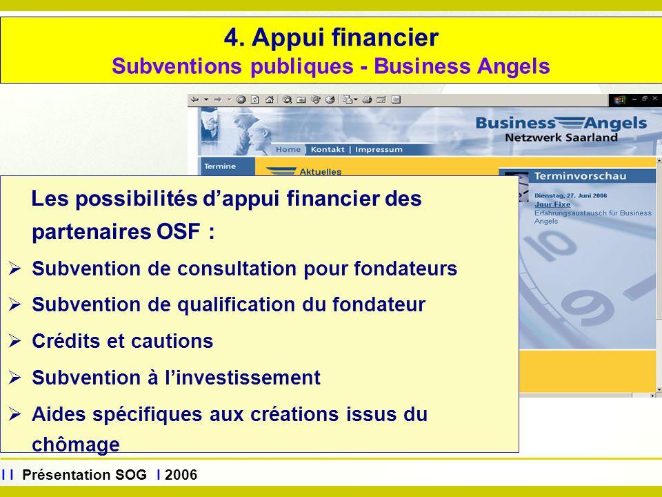 www.sog.saarland.de I I Présentation SOG I 2006 4. Appui financier Subventions publiques - Business Angels Les possibilités d'appui financier des part