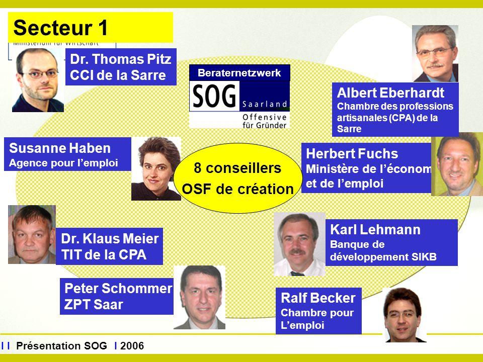 www.sog.saarland.de I I Présentation SOG I 2006 Herbert Fuchs Ministère de l'économie et de l'emploi Albert Eberhardt Chambre des professions artisana