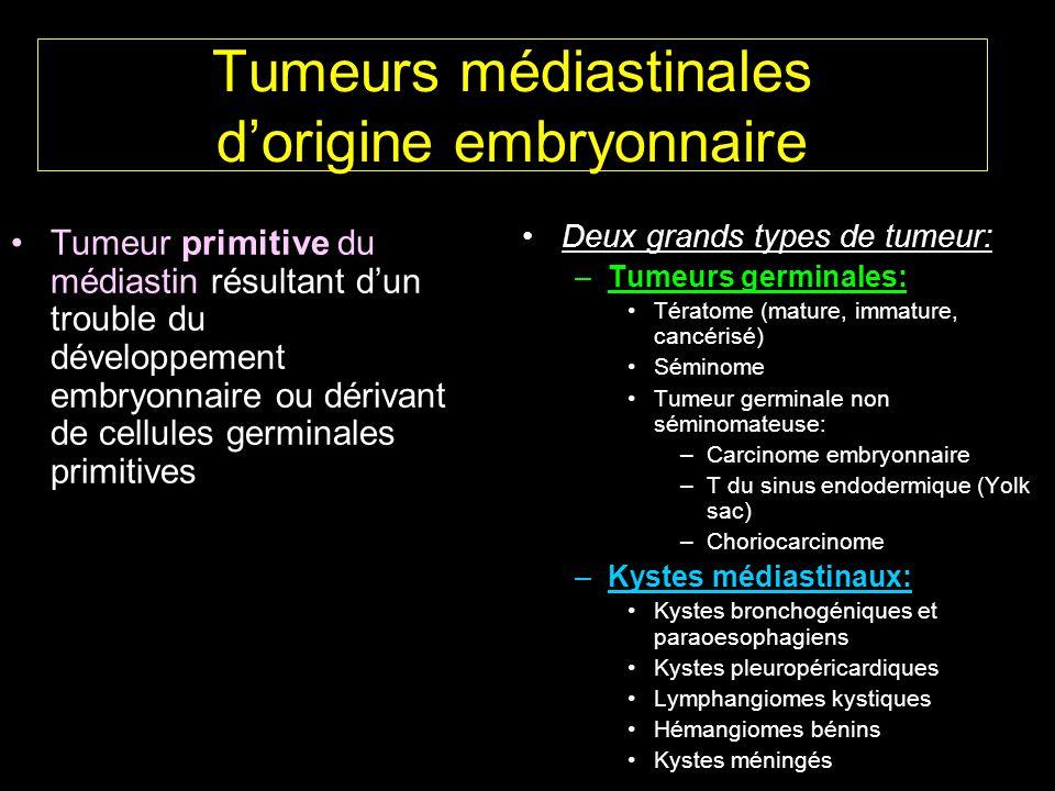Tumeurs médiastinales d'origine embryonnaire Tumeur primitive du médiastin résultant d'un trouble du développement embryonnaire ou dérivant de cellules germinales primitives Deux grands types de tumeur: –Tumeurs germinales: Tératome (mature, immature, cancérisé) Séminome Tumeur germinale non séminomateuse: –Carcinome embryonnaire –T du sinus endodermique (Yolk sac) –Choriocarcinome –Kystes médiastinaux: Kystes bronchogéniques et paraoesophagiens Kystes pleuropéricardiques Lymphangiomes kystiques Hémangiomes bénins Kystes méningés