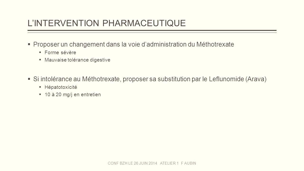 L'INTERVENTION PHARMACEUTIQUE  Proposer un changement dans la voie d'administration du Méthotrexate  Forme sévère  Mauvaise tolérance digestive  S