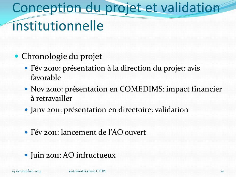 automatisation CHBS10 Conception du projet et validation institutionnelle Chronologie du projet Fév 2010: présentation à la direction du projet: avis