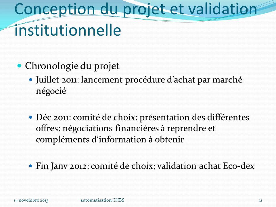 automatisation CHBS11 Conception du projet et validation institutionnelle Chronologie du projet Juillet 2011: lancement procédure d'achat par marché n