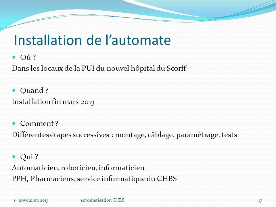 automatisation CHBS17 Installation de l'automate Où ? Dans les locaux de la PUI du nouvel hôpital du Scorff Quand ? Installation fin mars 2013 Comment