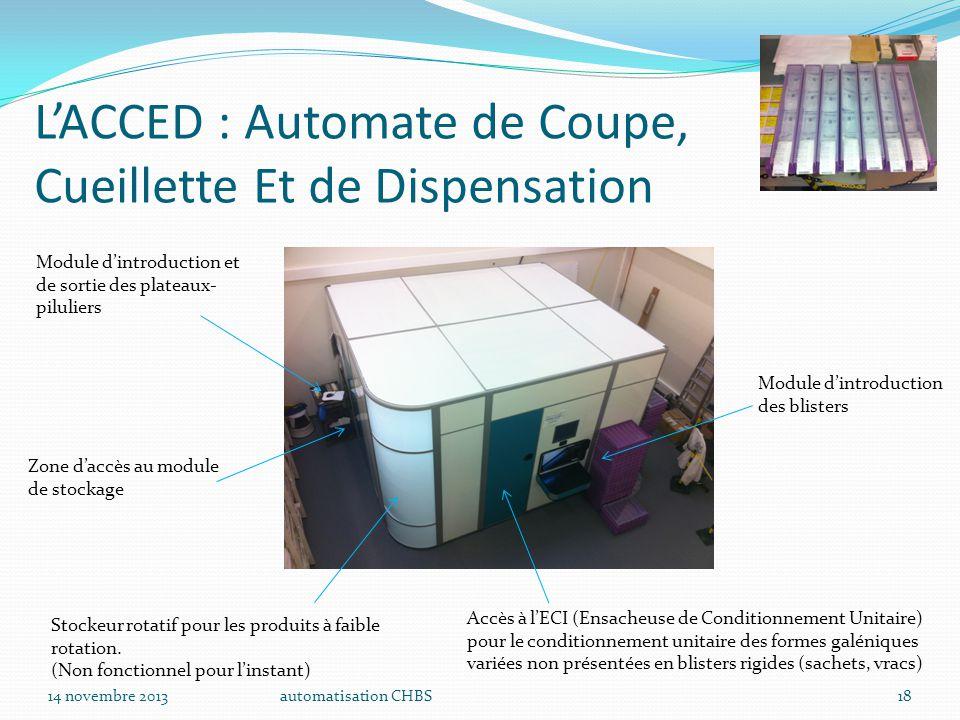 automatisation CHBS18 L'ACCED : Automate de Coupe, Cueillette Et de Dispensation Module d'introduction des blisters Stockeur rotatif pour les produits