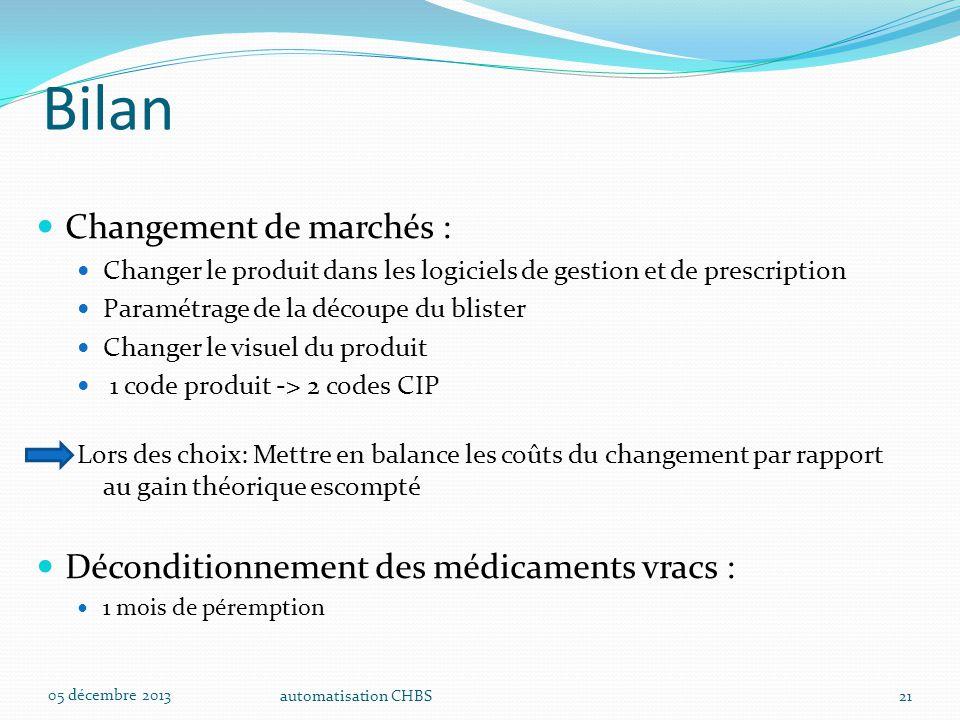 automatisation CHBS21 Bilan Changement de marchés : Changer le produit dans les logiciels de gestion et de prescription Paramétrage de la découpe du b