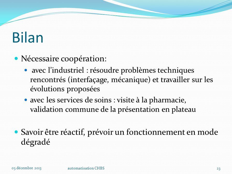 automatisation CHBS23 Bilan Nécessaire coopération: avec l'industriel : résoudre problèmes techniques rencontrés (interfaçage, mécanique) et travaille