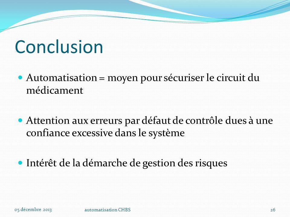 automatisation CHBS26 Conclusion Automatisation = moyen pour sécuriser le circuit du médicament Attention aux erreurs par défaut de contrôle dues à un
