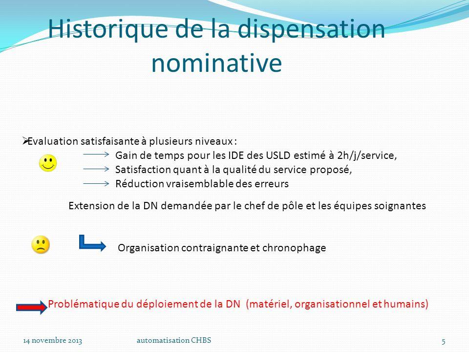 automatisation CHBS5  Evaluation satisfaisante à plusieurs niveaux : Gain de temps pour les IDE des USLD estimé à 2h/j/service, Satisfaction quant à