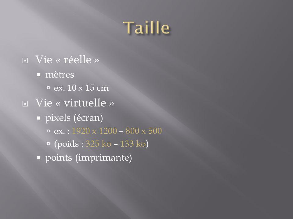  Vie « réelle »  mètres  ex. 10 x 15 cm  Vie « virtuelle »  pixels (écran)  ex. : 1920 x 1200 – 800 x 500  (poids : 325 ko – 133 ko)  points (