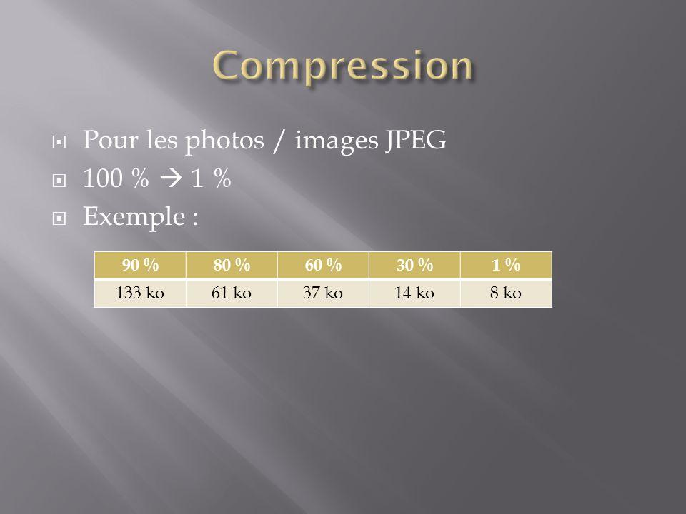  Pour les photos / images JPEG  100 %  1 %  Exemple : 90 %80 %60 %30 %1 % 133 ko61 ko37 ko14 ko8 ko