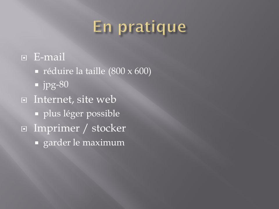  E-mail  réduire la taille (800 x 600)  jpg-80  Internet, site web  plus léger possible  Imprimer / stocker  garder le maximum