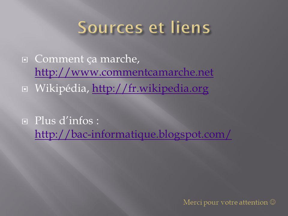  Comment ça marche, http://www.commentcamarche.net http://www.commentcamarche.net  Wikipédia, http://fr.wikipedia.orghttp://fr.wikipedia.org  Plus