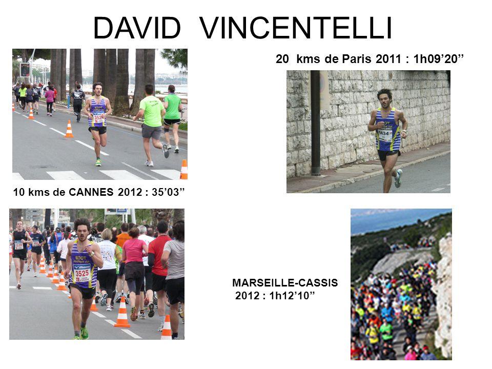 DAVID VINCENTELLI 10 kms de CANNES 2012 : 35'03'' 20 kms de Paris 2011 : 1h09'20'' MARSEILLE-CASSIS 2012 : 1h12'10''