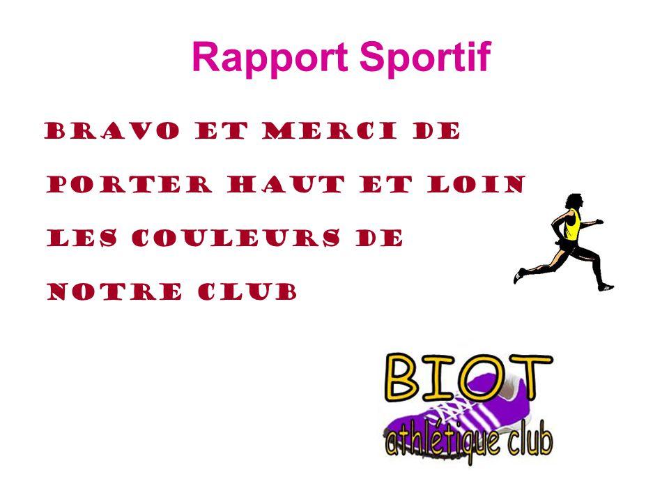 Rapport Sportif Bravo et merci de porter haut et loin les couleurs de notre Club