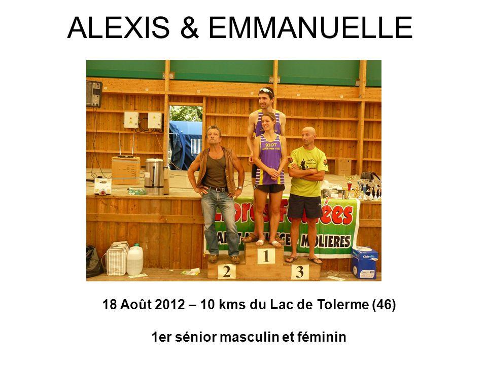 18 Août 2012 – 10 kms du Lac de Tolerme (46) 1er sénior masculin et féminin ALEXIS & EMMANUELLE