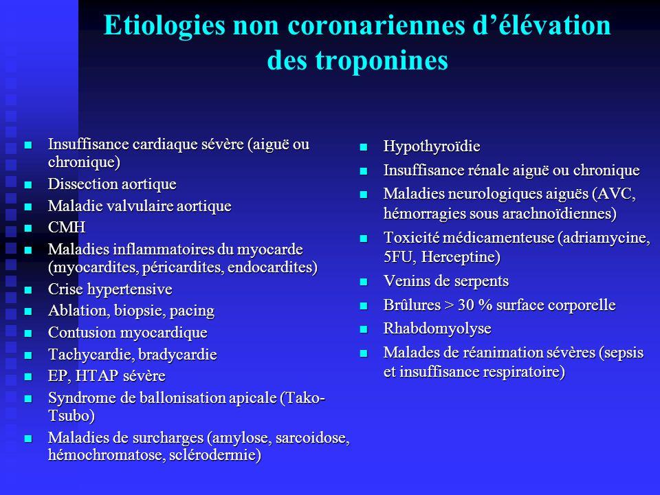 Etiologies non coronariennes d'élévation des troponines Insuffisance cardiaque sévère (aiguë ou chronique) Insuffisance cardiaque sévère (aiguë ou chr