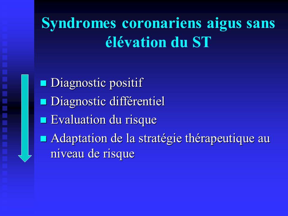 Syndromes coronariens aigus sans élévation du ST Diagnostic positif Diagnostic positif Diagnostic différentiel Diagnostic différentiel Evaluation du r
