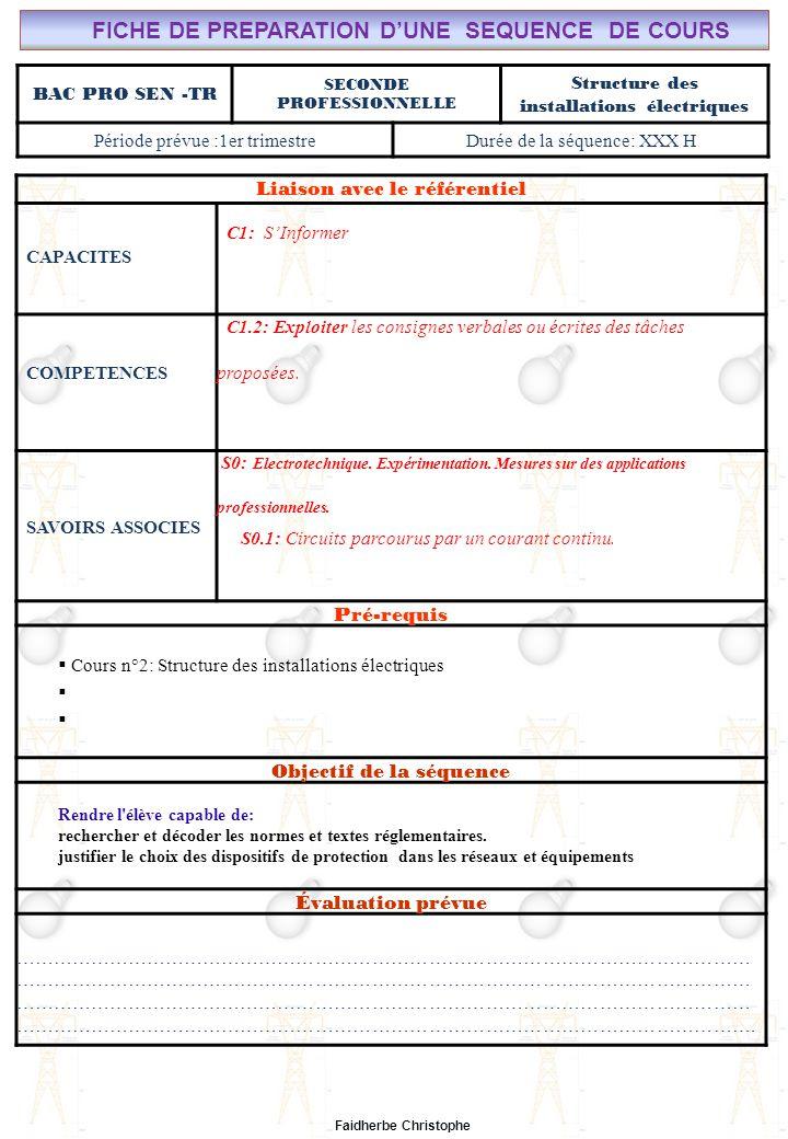 Seconde Bac Professionnel ELEEC Synthèse Plan du TD ………………………………..……… M.FAIDHERBE, Professeur au Lycée Privé Saint Rémi Pôle professionnel Léonard de Vinci Liaison avec le référentiel C7X C6X C5X C4X C3X C2X C1x S0S1S2S3S4S5S6S7 CHAMP PROFESSIONNEL: Alarme, Sécurité, Incendie TD N°2: Structure d'une installation électrique S0: Les Systèmes Electroniques d'Alarme, Sécurité, Incendie S0 -1.0: Règles techniques d'installation Lycée Saint-Rémi, site Léonard de Vinci BAC PRO SEN – TR Seconde Professionnelle Lieu d'Activité: Classe OBJECTIFS - Identifier des situations dangereuses -Evaluer la dangerosité du courant -Calculer la sensibilité d'un disjoncteur TD - Exercice n°1 : situations dangereuses - Exercice n°2 : Danger de la durée de passage du courant - Exercice n°3 : Calcul autour de la sensibilité