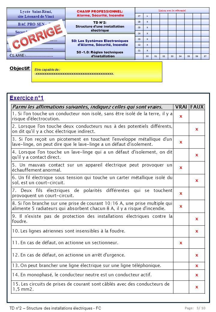 Page: 3/ 10 TD n°2 – Structure des installations électriques - FC Objectif: Etre capable de : -xxxxxxxxxxxxxxxxxxxxxxxxxxxxxxxxxxxxxxxxxxx. Liaison av