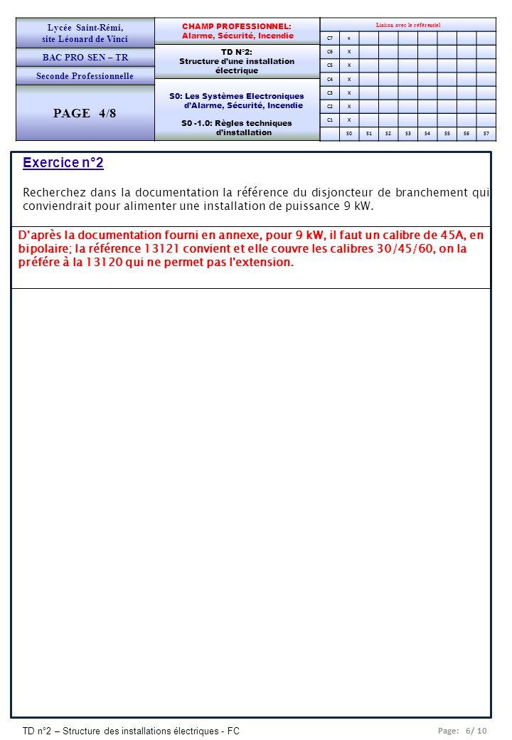 Page: 6/ 10 TD n°2 – Structure des installations électriques - FC Liaison avec le référentiel C7x C6X C5X C4X C3X C2X C1X S0S1S2S3S4S5S6S7 CHAMP PROFE