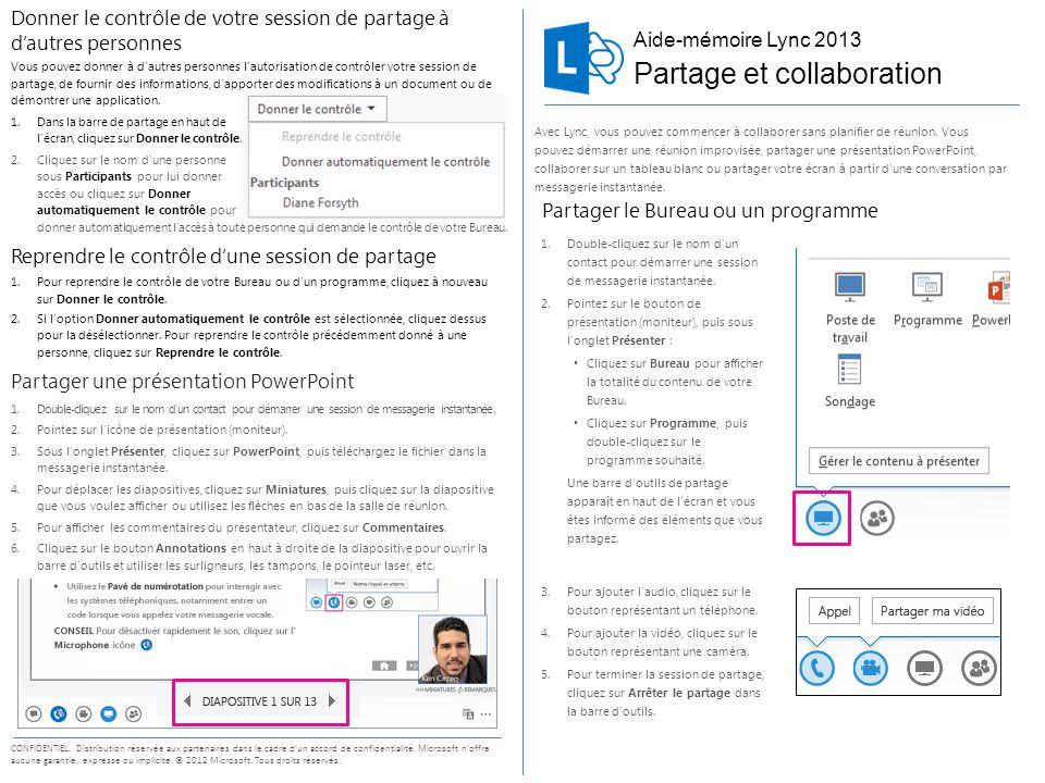 Aide-mémoire Lync 2013 CONFIDENTIEL. Distribution réservée aux partenaires dans le cadre d'un accord de confidentialité. Microsoft n'offre aucune gara