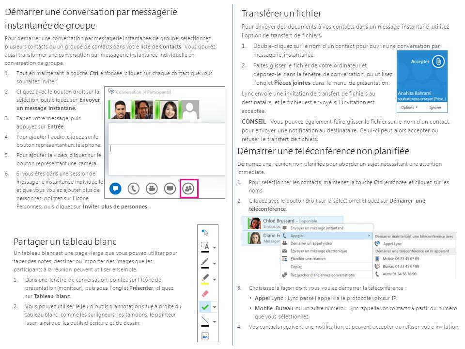 Démarrer une conversation par messagerie instantanée de groupe Pour démarrer une conversation par messagerie instantanée de groupe, sélectionnez plusi