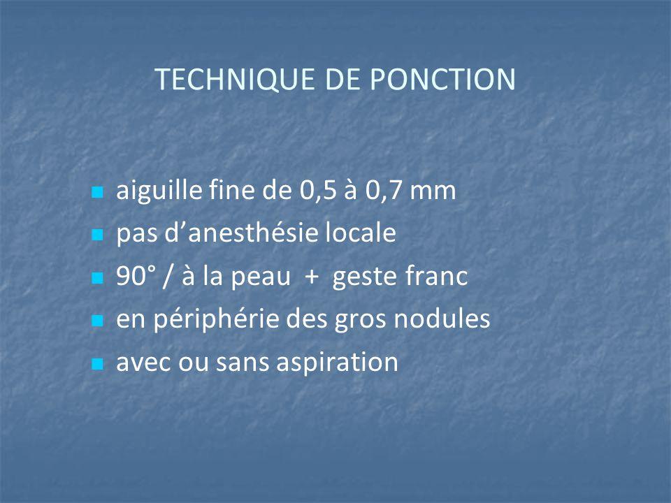 TECHNIQUE DE PONCTION aiguille fine de 0,5 à 0,7 mm pas d'anesthésie locale 90° / à la peau + geste franc en périphérie des gros nodules avec ou sans aspiration