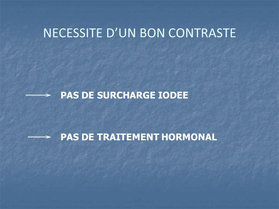 NECESSITE D'UN BON CONTRASTE PAS DE SURCHARGE IODEE PAS DE TRAITEMENT HORMONAL