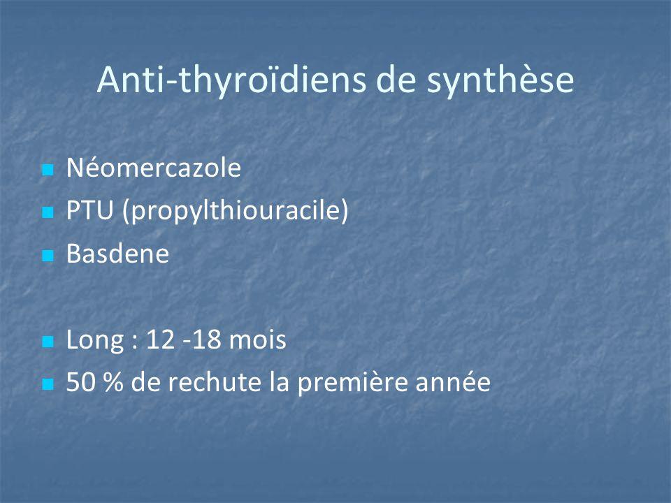 Anti-thyroïdiens de synthèse Néomercazole PTU (propylthiouracile) Basdene Long : 12 -18 mois 50 % de rechute la première année