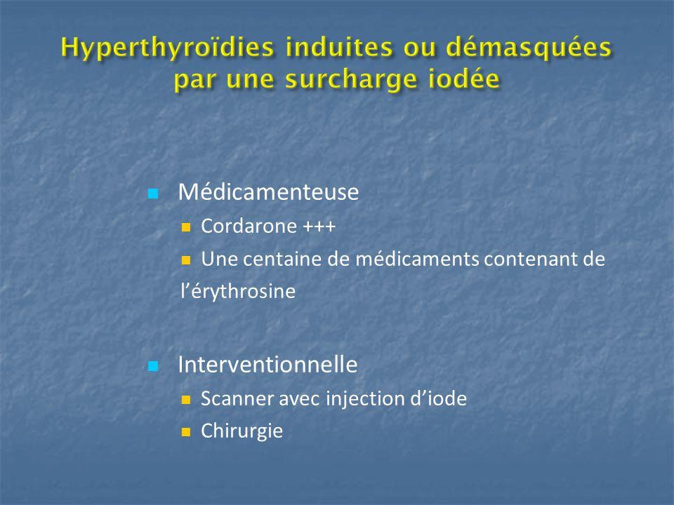 Médicamenteuse Cordarone +++ Une centaine de médicaments contenant de l'érythrosine Interventionnelle Scanner avec injection d'iode Chirurgie