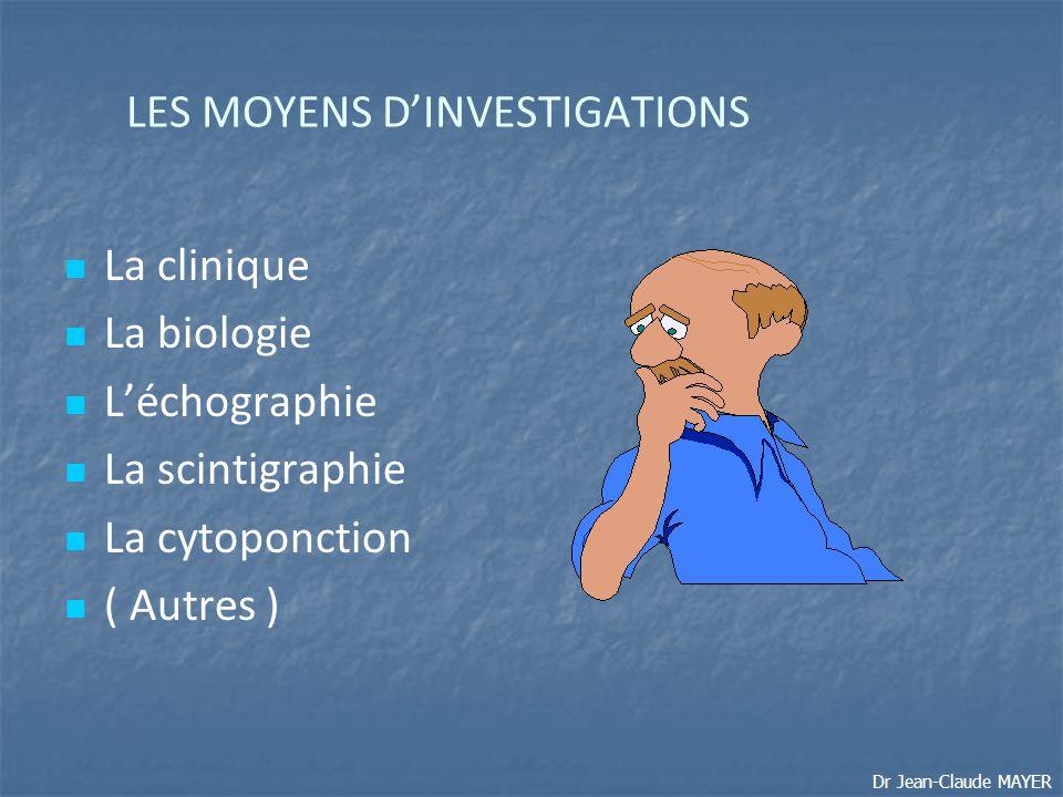 LES MOYENS D'INVESTIGATIONS La clinique La biologie L'échographie La scintigraphie La cytoponction ( Autres ) Dr Jean-Claude MAYER