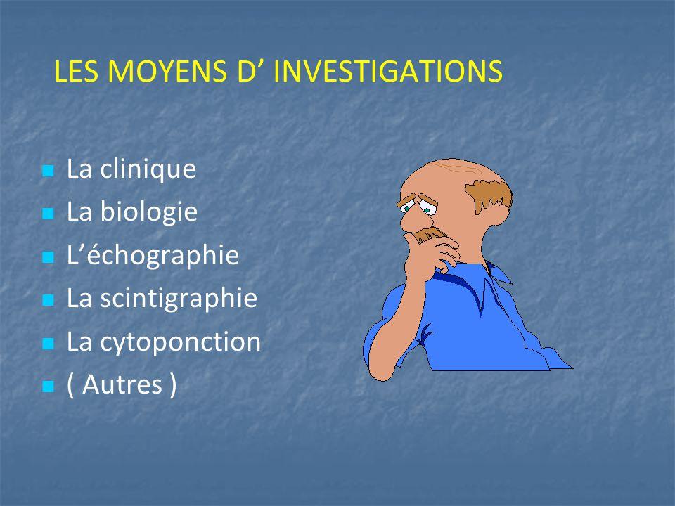 LES MOYENS D' INVESTIGATIONS La clinique La biologie L'échographie La scintigraphie La cytoponction ( Autres )