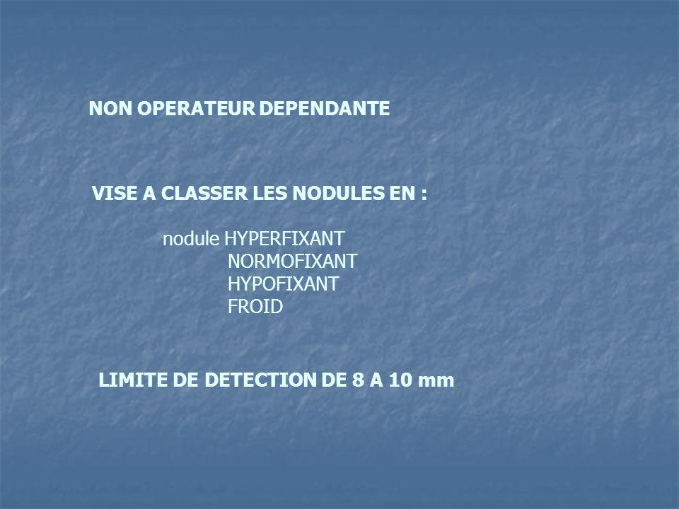 NON OPERATEUR DEPENDANTE VISE A CLASSER LES NODULES EN : nodule HYPERFIXANT NORMOFIXANT HYPOFIXANT FROID LIMITE DE DETECTION DE 8 A 10 mm