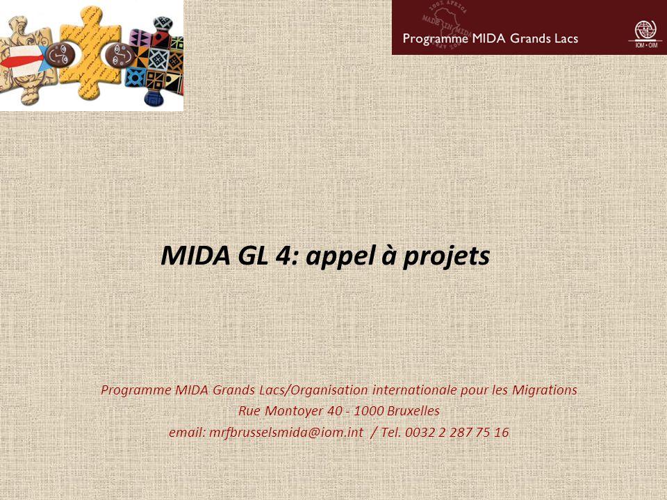 MIDA GL 4: appel à projets Programme MIDA Grands Lacs/Organisation internationale pour les Migrations Rue Montoyer 40 - 1000 Bruxelles email: mrfbruss
