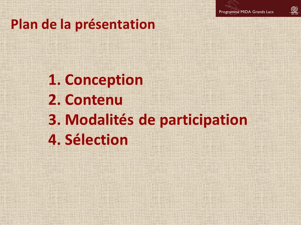 1. Conception 2. Contenu 3. Modalités de participation 4. Sélection Plan de la présentation