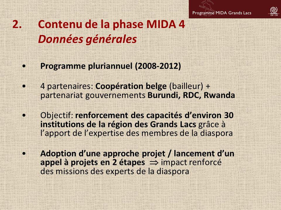 2.Contenu de la phase MIDA 4 Données générales Programme pluriannuel (2008-2012) 4 partenaires: Coopération belge (bailleur) + partenariat gouvernemen