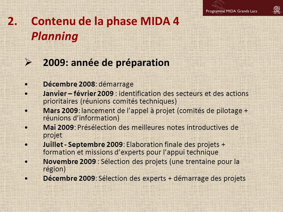 2.Contenu de la phase MIDA 4 Planning  2009: année de préparation Décembre 2008: démarrage Janvier – février 2009 : identification des secteurs et de