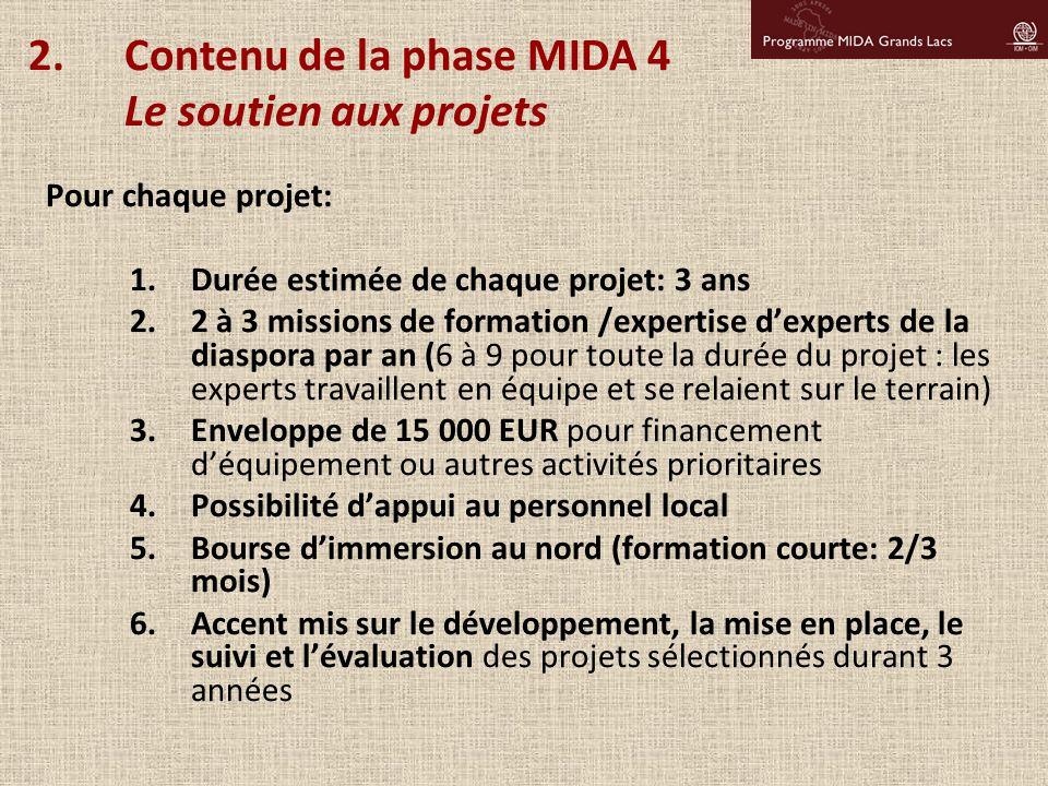 Pour chaque projet: 1.Durée estimée de chaque projet: 3 ans 2.2 à 3 missions de formation /expertise d'experts de la diaspora par an (6 à 9 pour toute