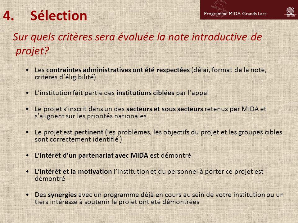 Les contraintes administratives ont été respectées (délai, format de la note, critères d'éligibilité) L'institution fait partie des institutions ciblé