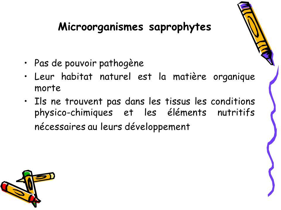 Microorganismes saprophytes Pas de pouvoir pathogène Leur habitat naturel est la matière organique morte Ils ne trouvent pas dans les tissus les conditions physico-chimiques et les éléments nutritifs nécessaires au leurs développement