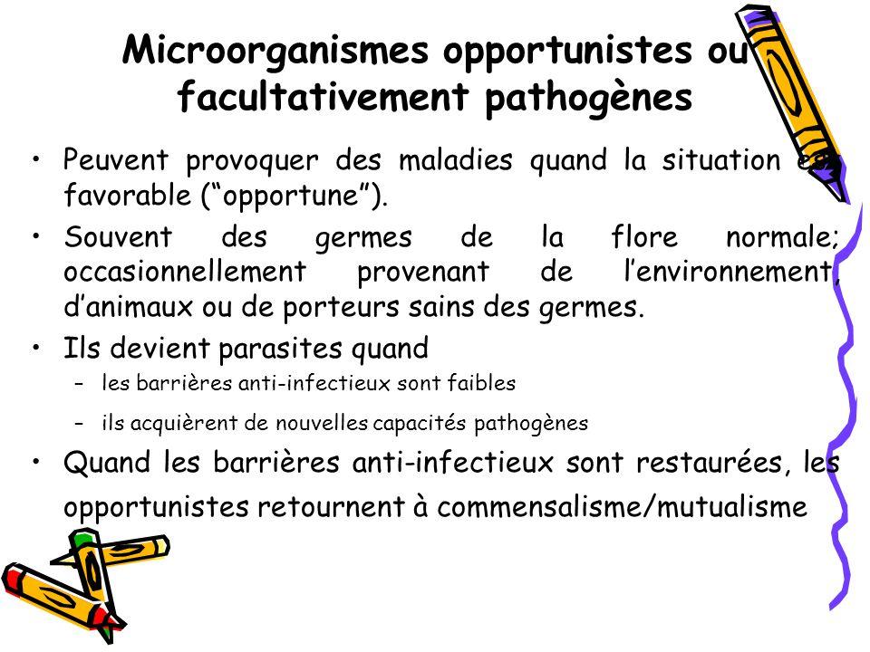 Microorganismes opportunistes ou facultativement pathogènes Peuvent provoquer des maladies quand la situation est favorable ( opportune ).