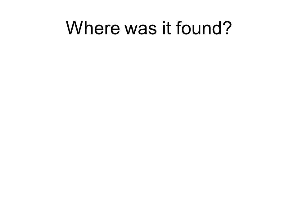 Where was it found?