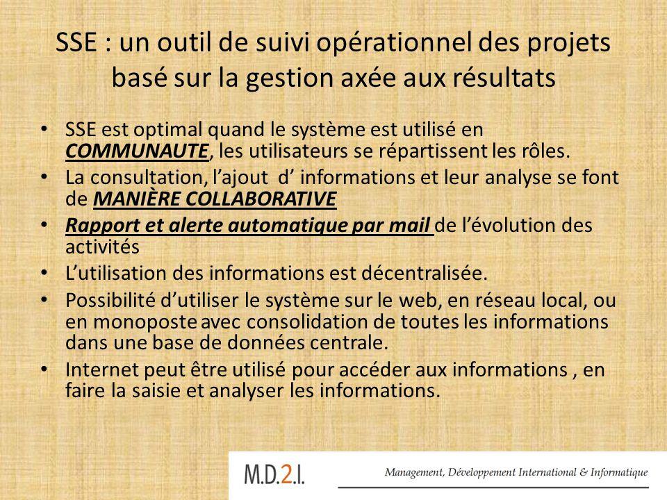 SSE : un outil de suivi opérationnel des projets basé sur la gestion axée aux résultats SSE est optimal quand le système est utilisé en COMMUNAUTE, le